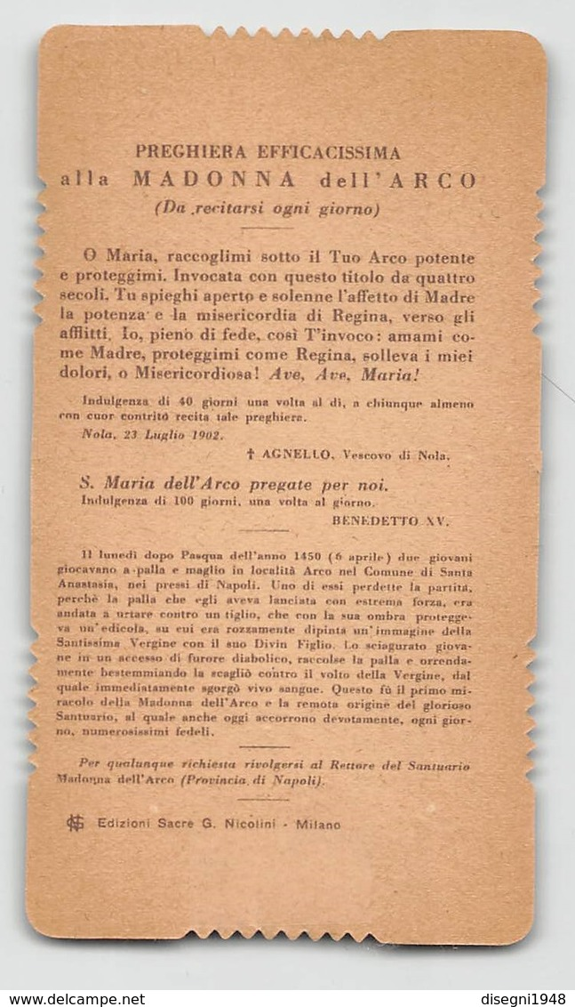 """08420 """"SANTA MARIA DELL'ARCO PREGATE PER NOI - NAPOLI"""" IMM. REL. ORIG. - Santini"""