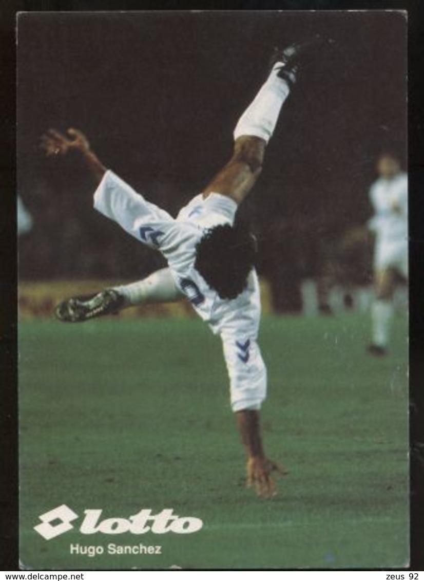 C1827 SPORT CALCIO FOOTBALL SOCCER - CARTOCINO FORMATO CARTOLINA SPONSOR LOTTO - HUGO SANCHEZ ROVESCIATA REAL MADRID - Calcio