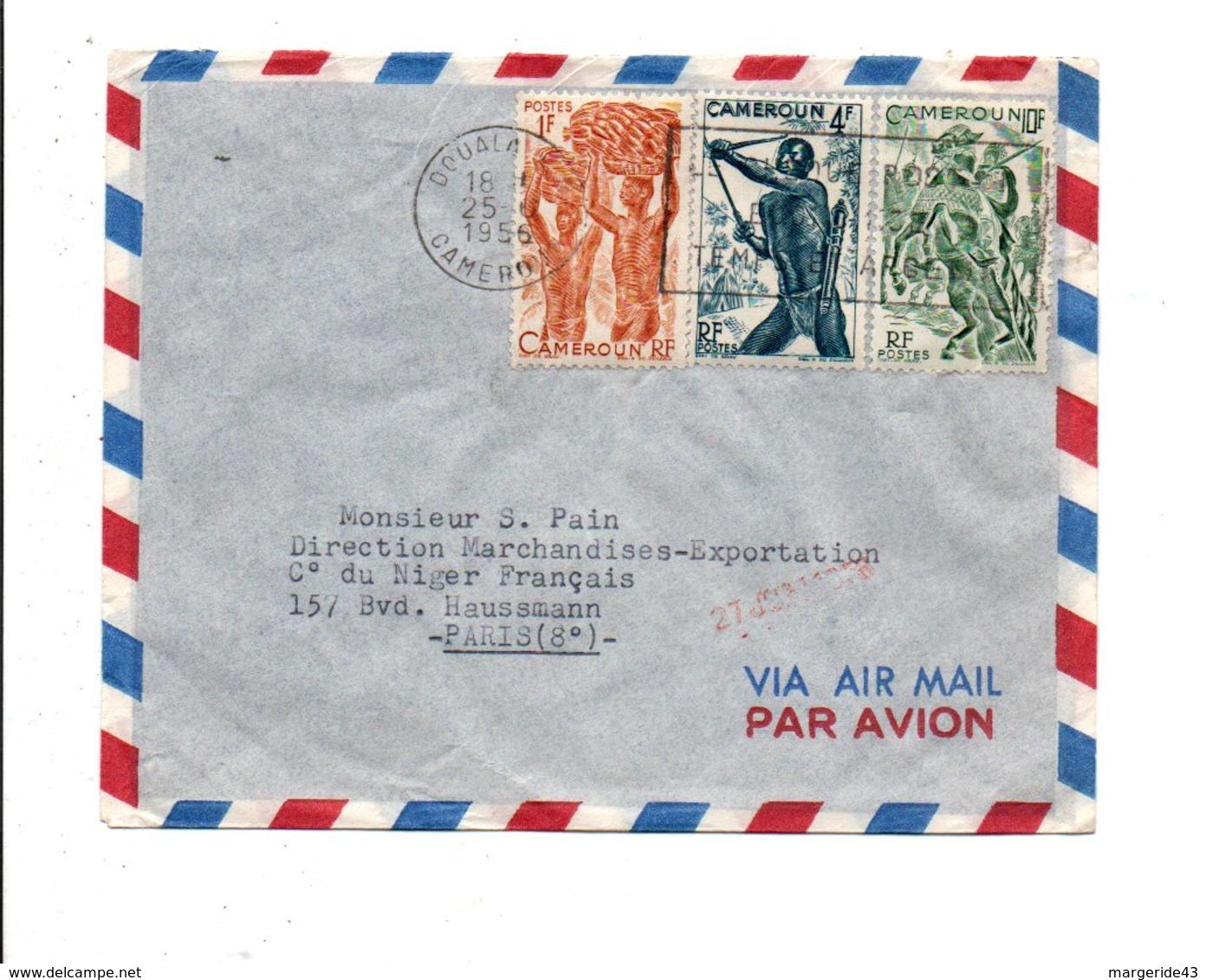 CAMEROUN AFFRANCHISSEMENT COMPOSE SUR LETTRE AVION DE DOUALA POUR LA FRANCE 1956 - Cameroun (1915-1959)