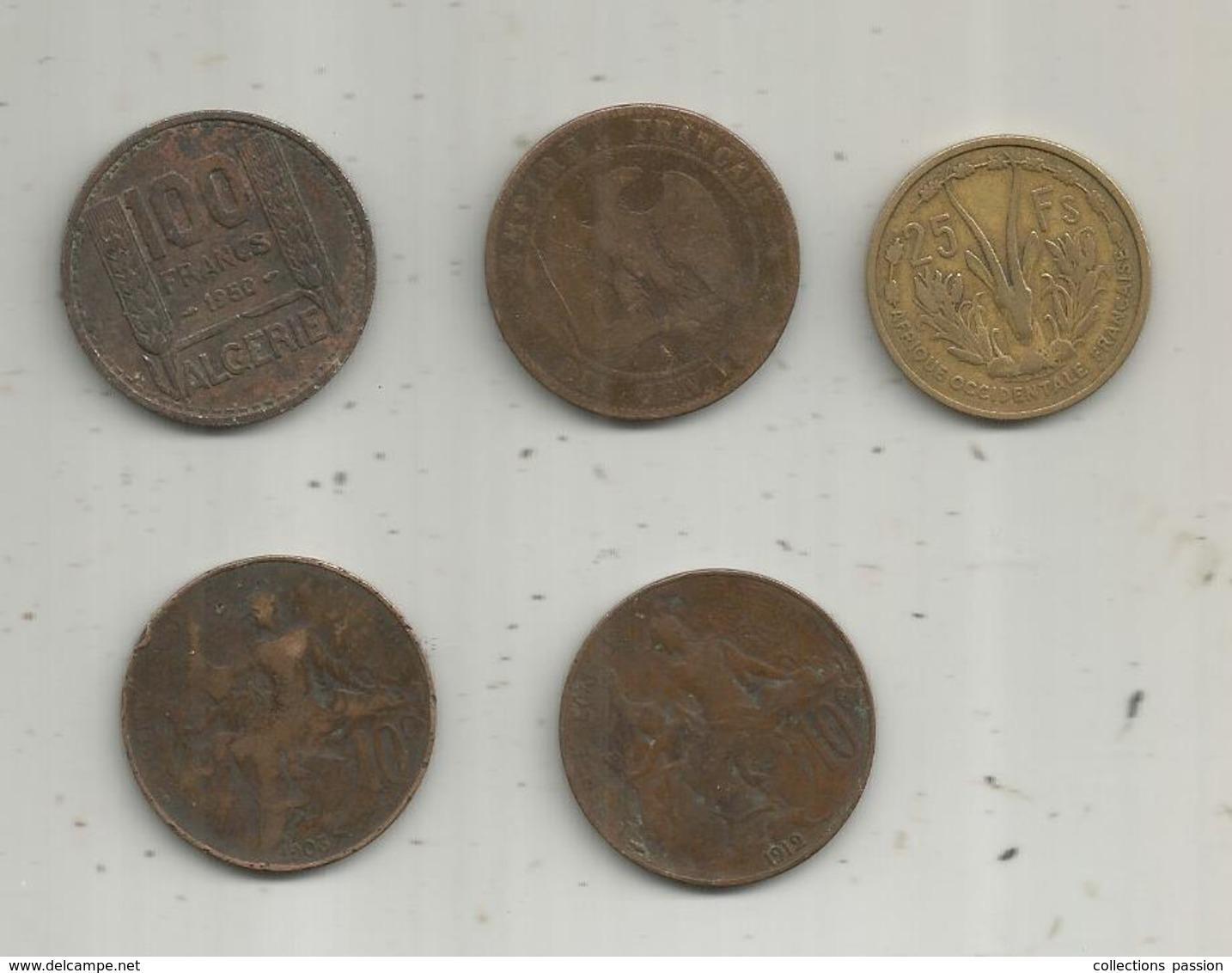 Monnaie , France Et Colonies Françaises ,  2 Scans ,  LOT DE 5 MONNAIES - Monedas & Billetes