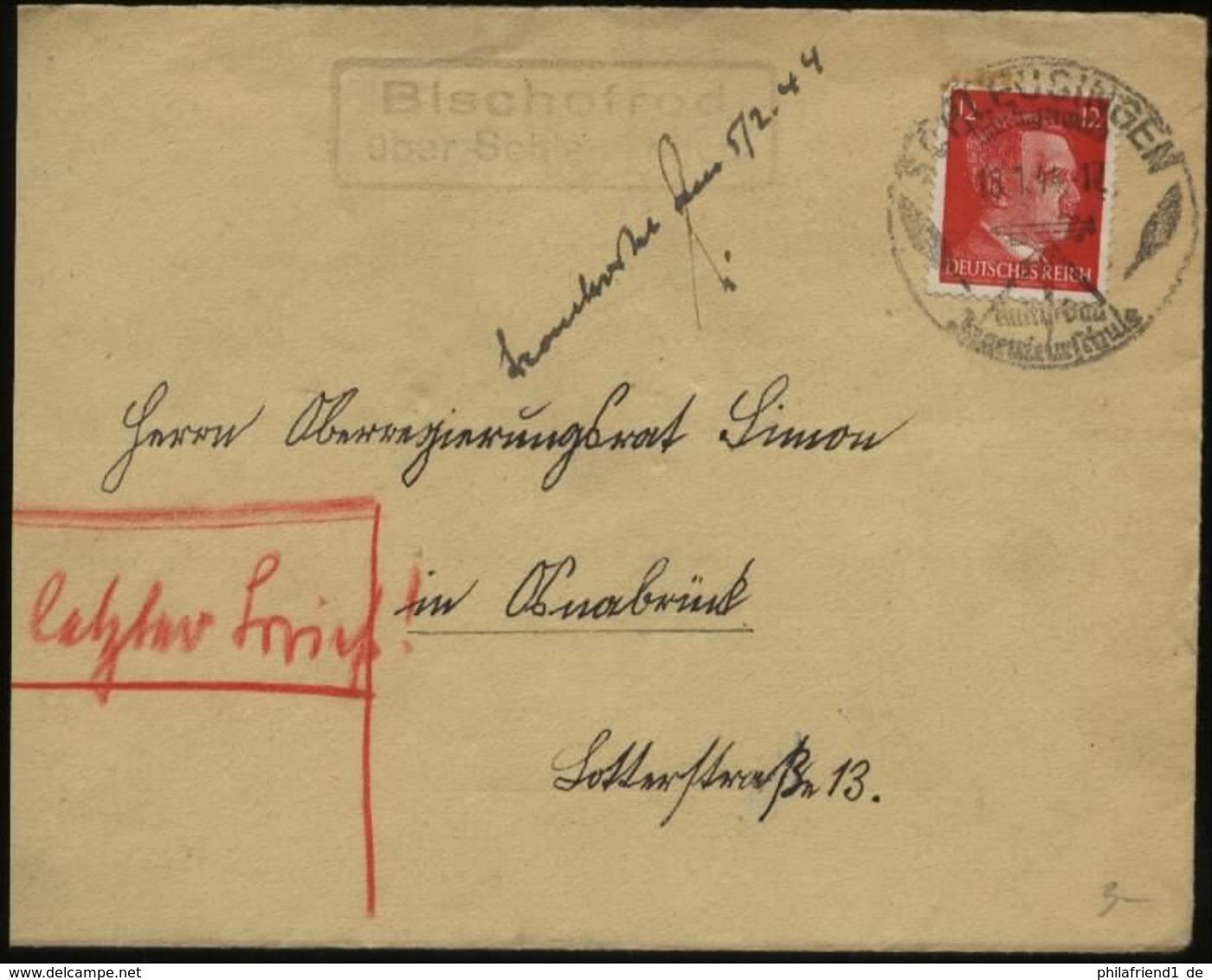 S1764 DR Hitler Brief, Gebraucht Mit Landpost Stempel Bischofrod über Schleusingen - Osnabrück 1944,Bedarfserhaltung. - Germany