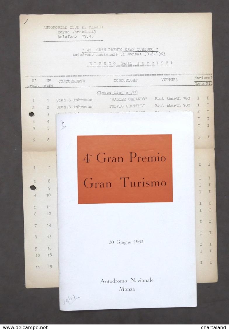 4° Gran Premio Turismo - Autodromo Di Monza - 30 Giugno 1963 - Regolamento - Libros, Revistas, Cómics