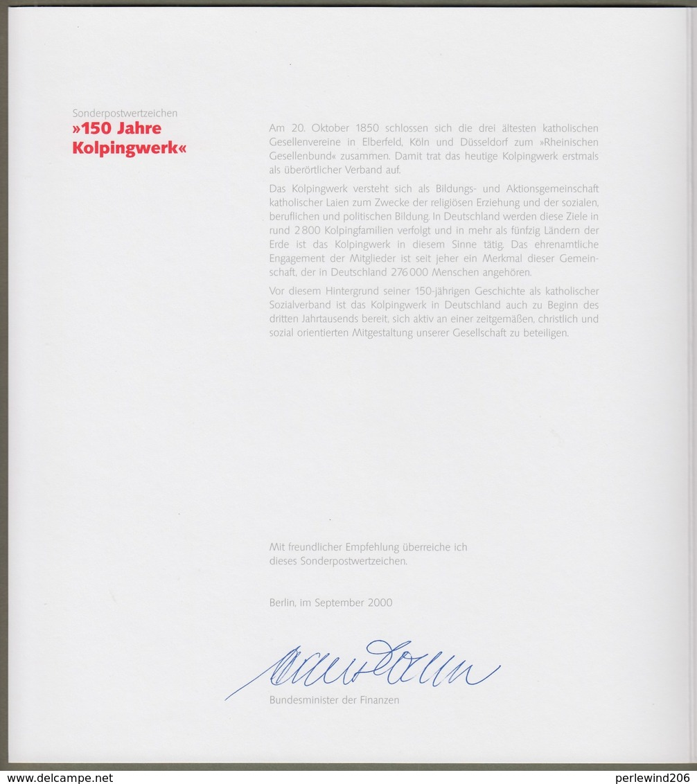 "Bund: Minister Card - Ministerkarte Typ VIII, Mi-Nr. 2135: "" Adolf Kolping 1909-97 - 150 Jahre Kolpingwerk  "" RR       X - BRD"