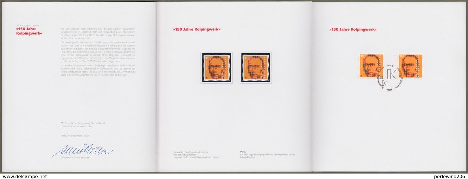 "Bund: Minister Card - Ministerkarte Typ VIII, Mi-Nr. 2135: "" Adolf Kolping 1909-97 - 150 Jahre Kolpingwerk  "" RR       X - Briefe U. Dokumente"