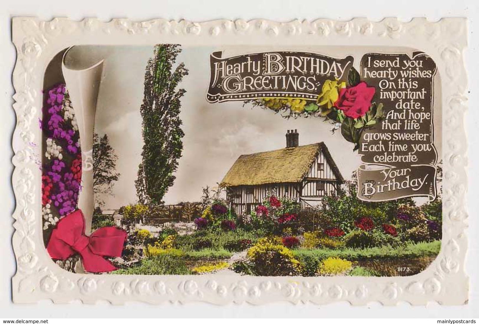AI76 Greetings - Hearty Birthday Greetings - Cottage, Garden - Birthday