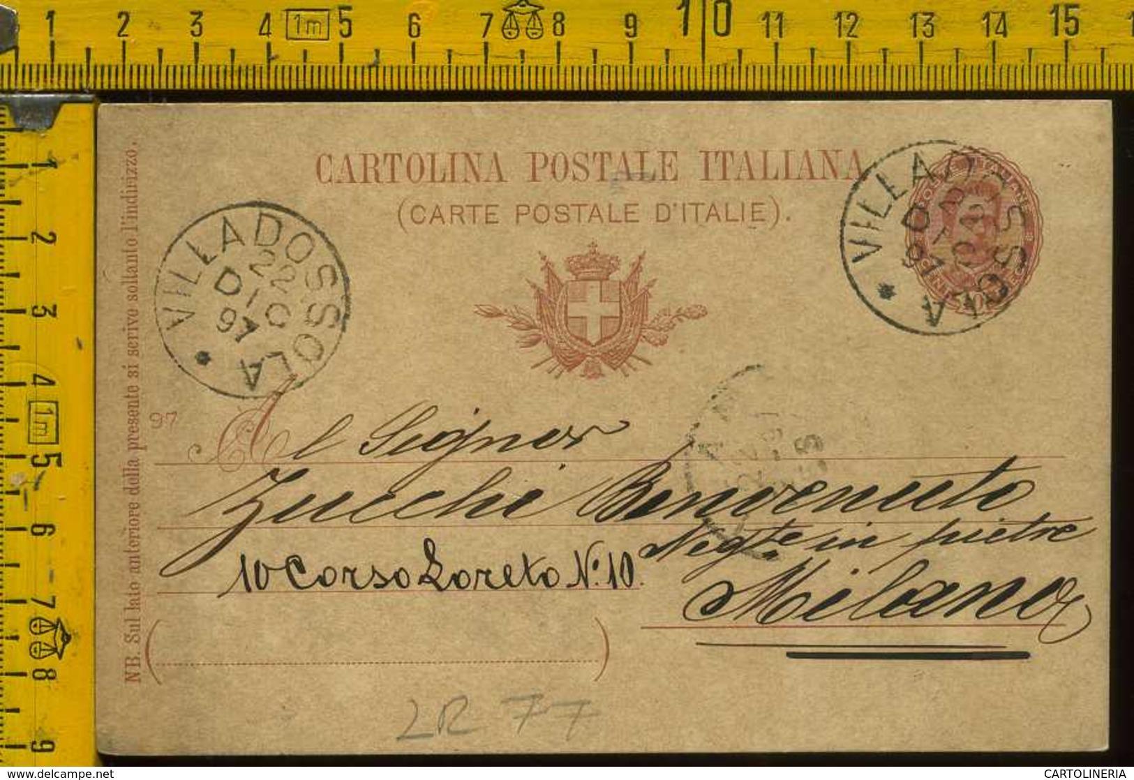 Regno Cartolina Intero Postale Villadossola Milano - Marcofilie