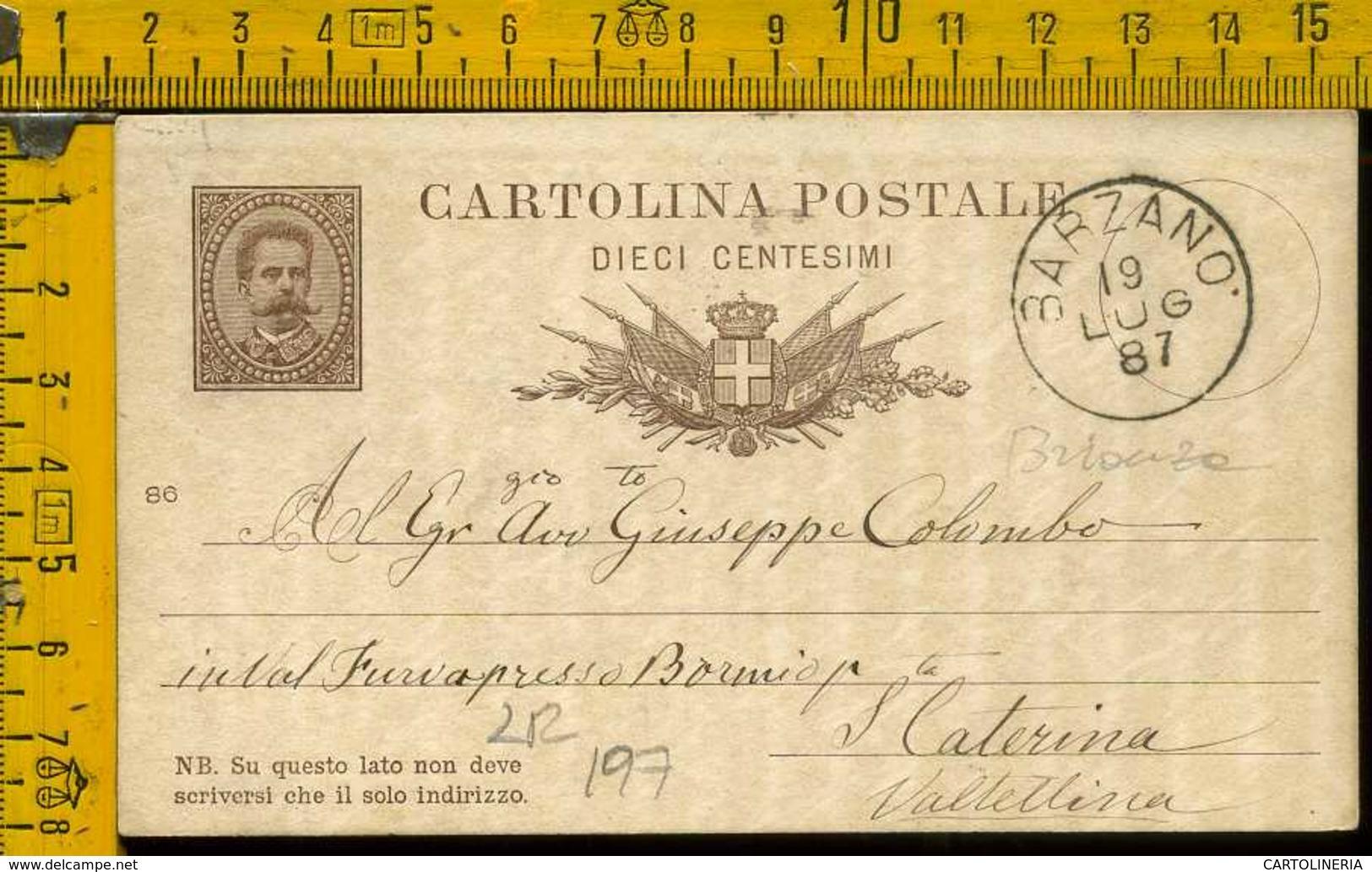 Regno Cartolina Intero Postale Barzanò Santa Caterina Valfurla - 1878-00 Umberto I