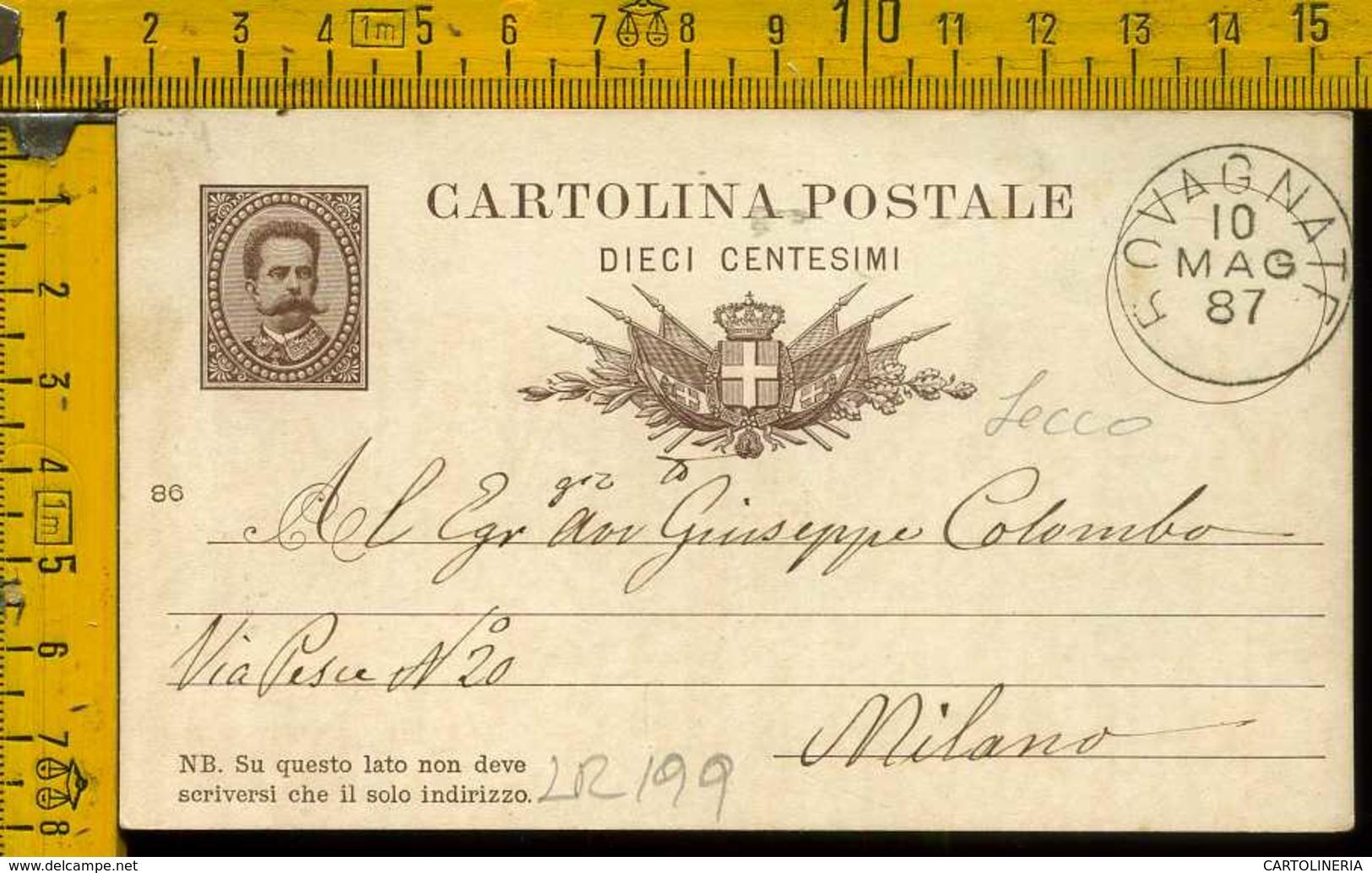 Regno Cartolina Intero Postale Rovagnate  Milano - Storia Postale