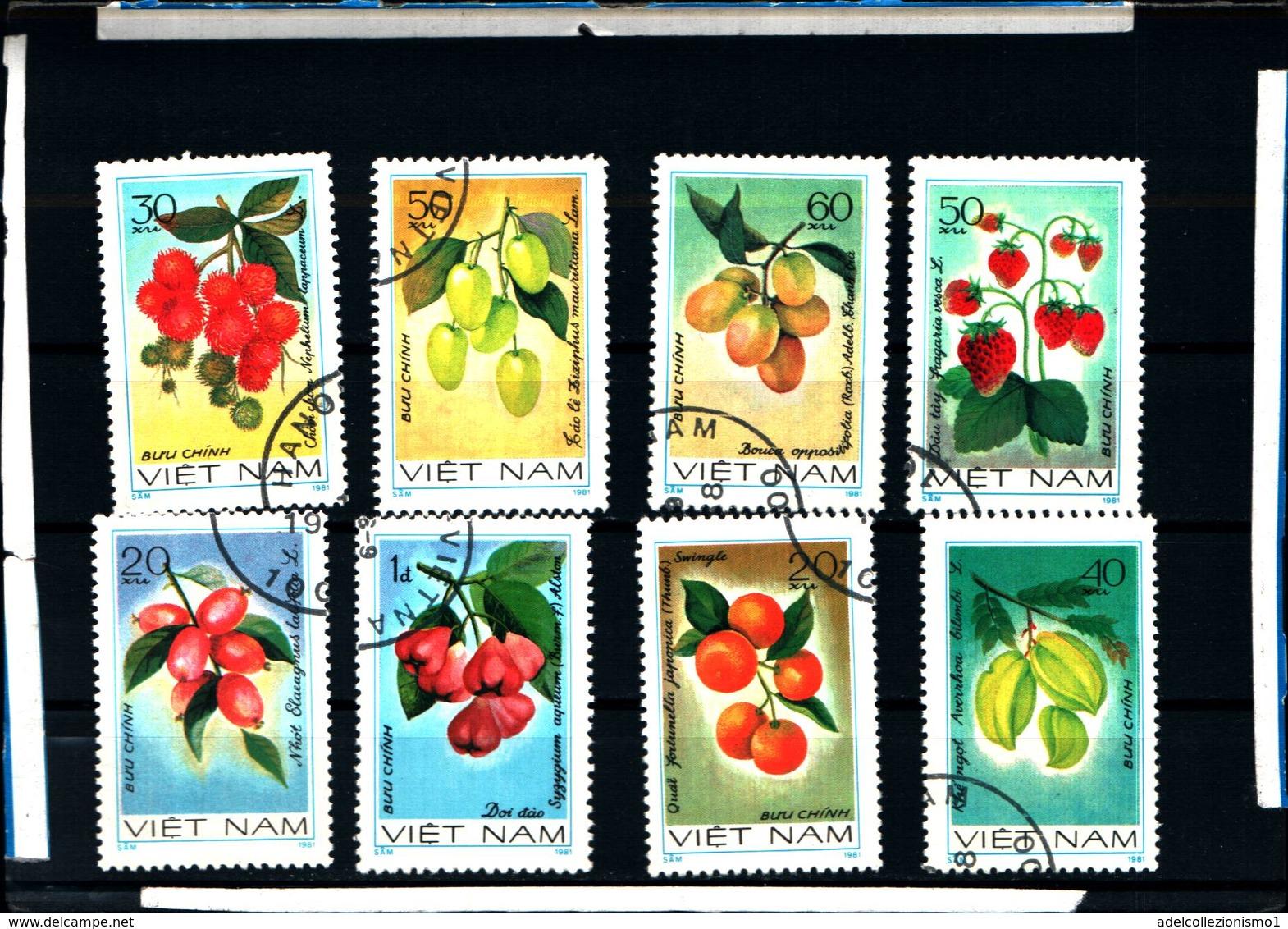 6431b)   Vietnam 8 Val. FRUTTA ESOTICA-SERIE  -USATA - Vietnam