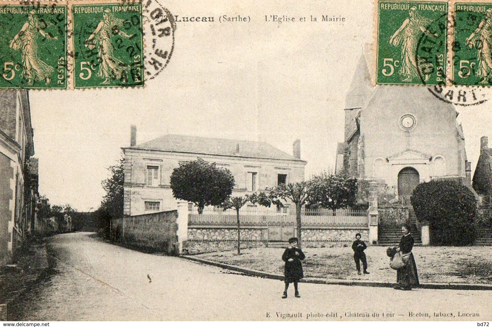 LUCEAU ( 72 ) - L' église Et La Mairie - Other Municipalities