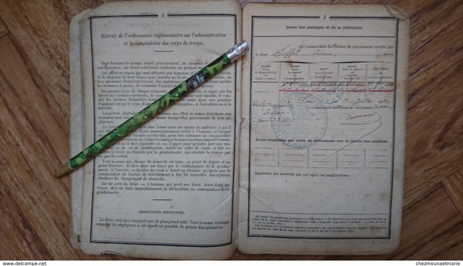 SYLVAIN SOFFER PARIS CONFESSION JUIVE JUIF MERE CAHEN EPOUX BAUMANN BCP EPERNAY LONGWY CL 1888 LIVRET MILITAIRE - Historical Documents