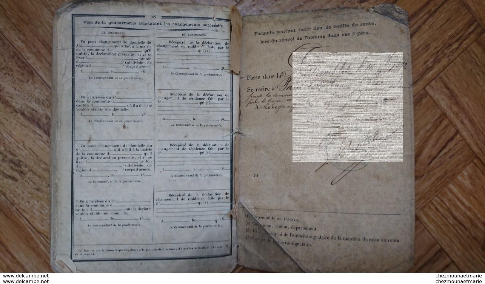 SYLVAIN SOFFER PARIS CONFESSION JUIVE JUIF MERE CAHEN EPOUX BAUMANN BCP EPERNAY LONGWY CL 1888 LIVRET MILITAIRE - Documents Historiques