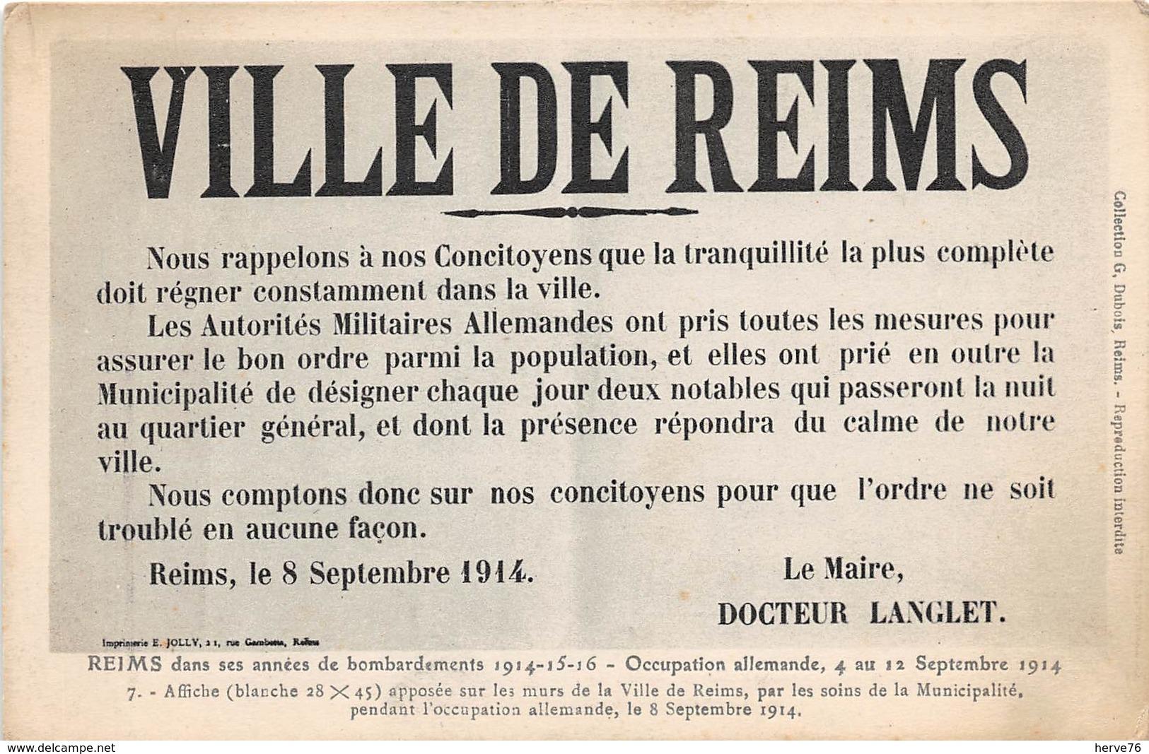 VILLE DE REIMS - 8 Septembre 1914- Appel  à La Population-affiche Apposée Sur Les Murs De La Ville Pendant L'occupation - Reims