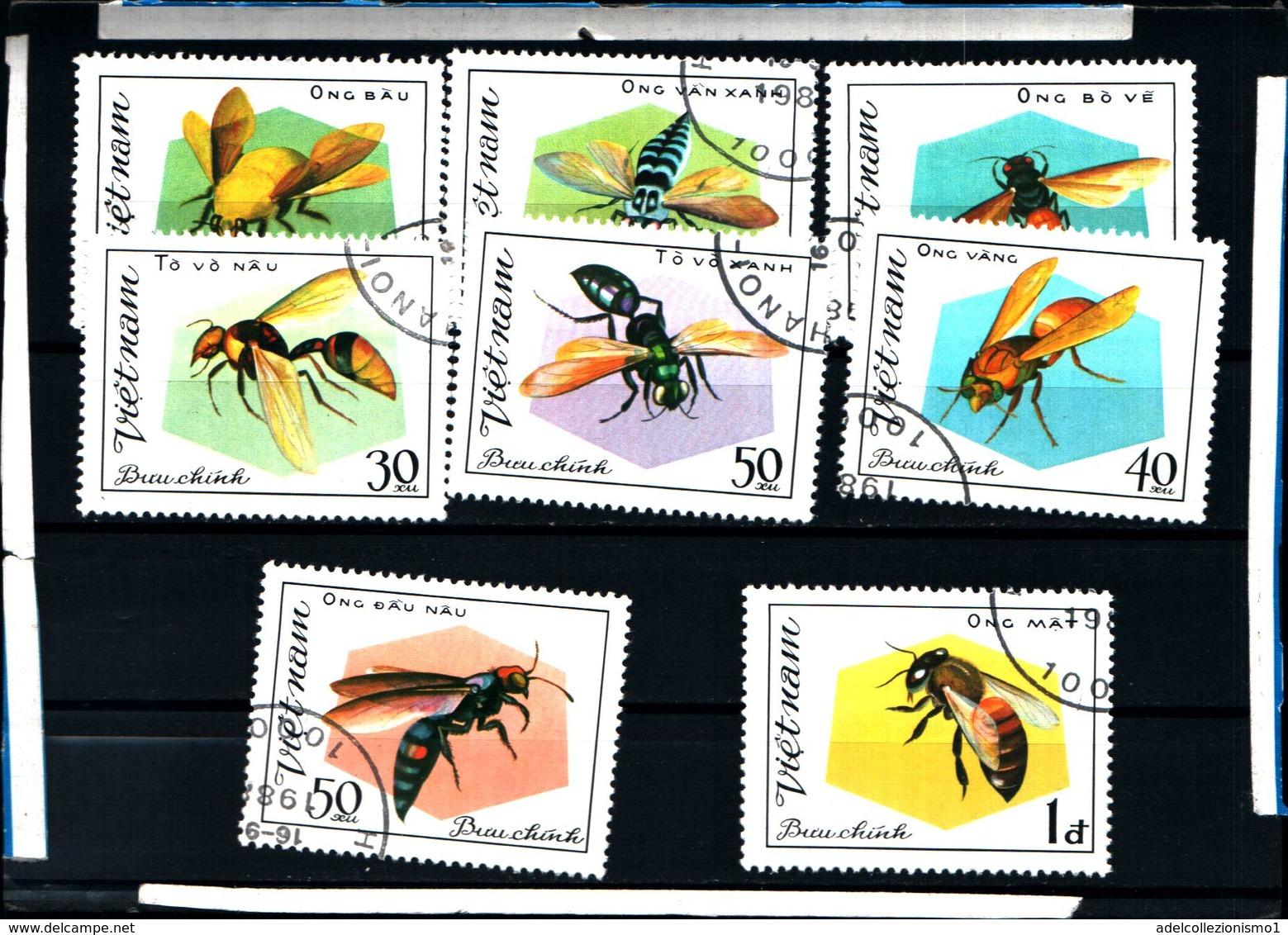 6433B)  Vietnam - 1982, Bees & Wasps Set - F/U - Sg 447/53 8 VAL -SERIE  -USATA - Vietnam