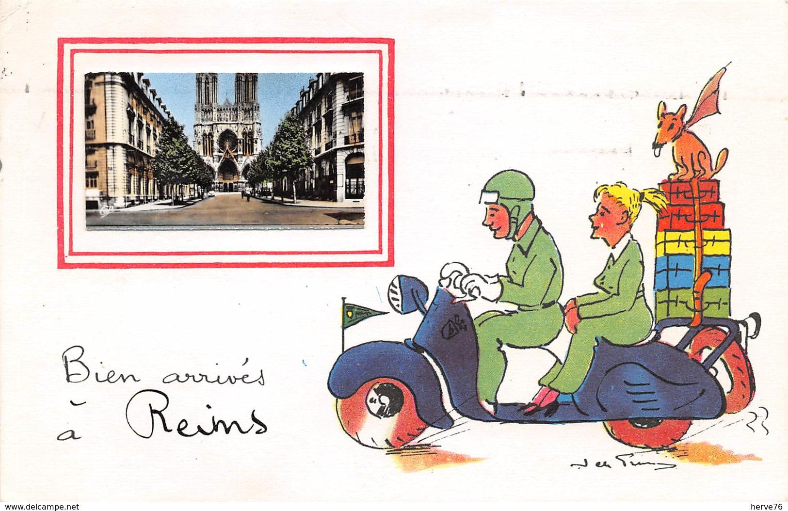 REIMS - Bien Arrivés à Reims - CPA Fantaisie - Illustrateur Jean De Pressac - Reims