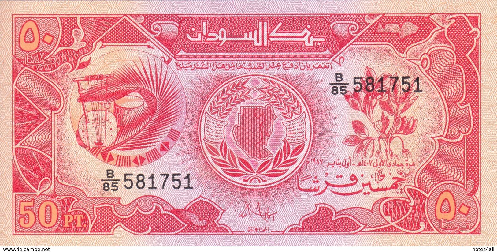 SUDAN 50 Piastres 1987 P-38 LOT X5 UNC NOTES */* - Sudan