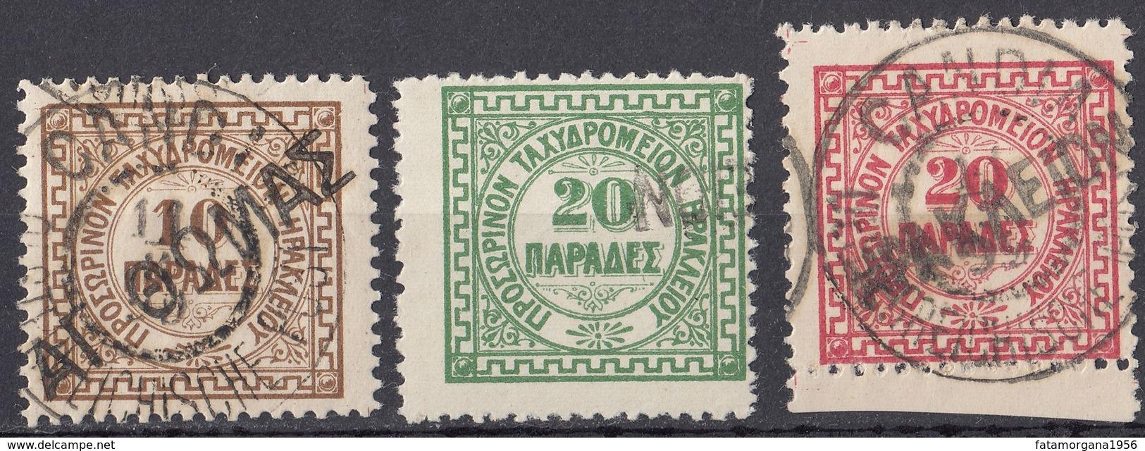 CRETA Ufficio Di Heraklion - 1898/1899 -Lotto Di 3 Valori Usati: Yvert 3/5. - Crete