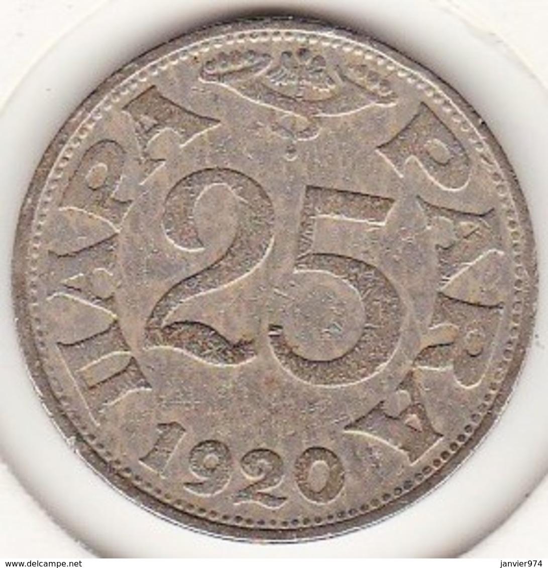 Yougoslavie 25 Para 1920 Petar I . Nickel Bronze.  KM# 3 - Joegoslavië