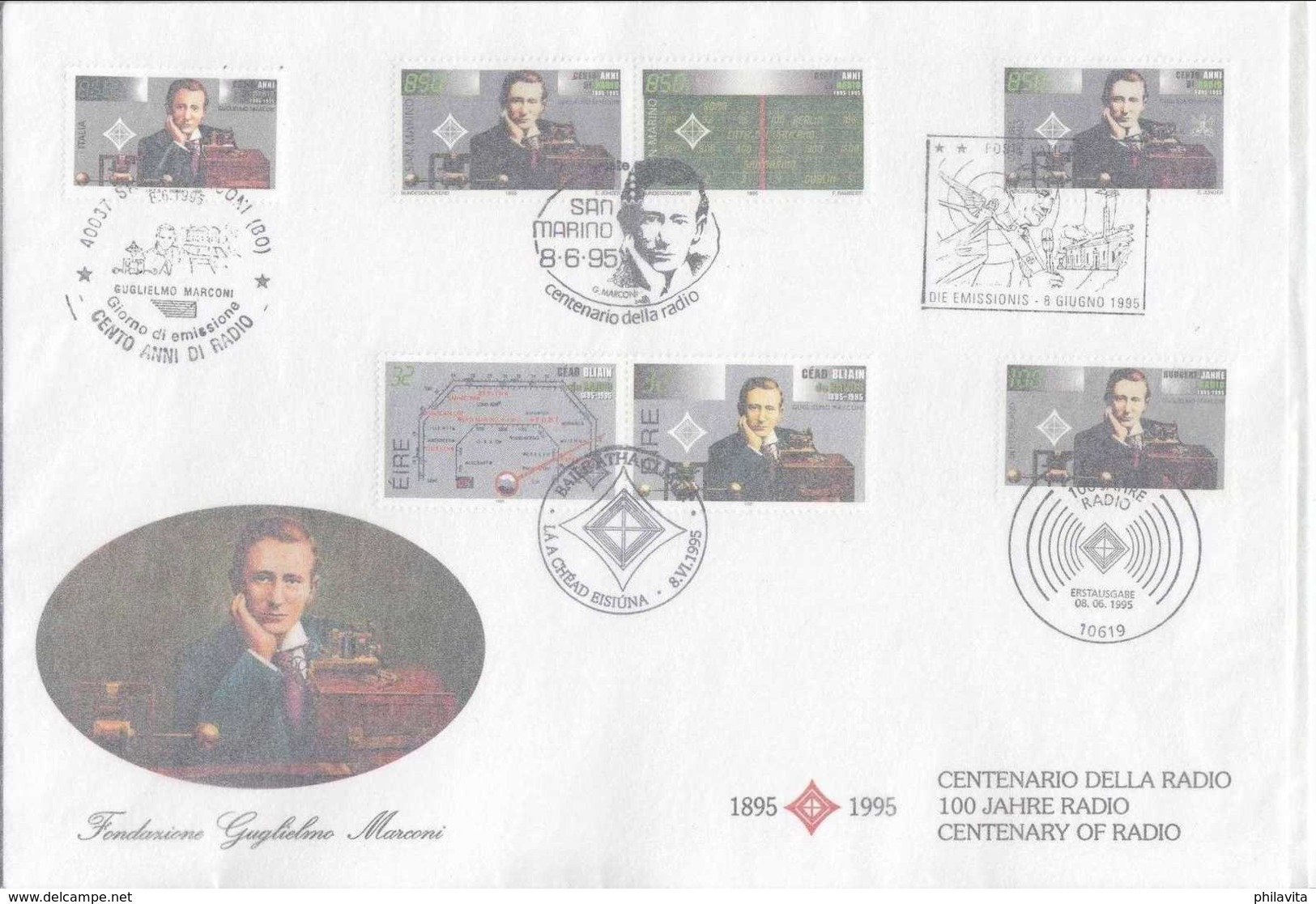 1995 Marconi / Invention Of Radio - Joint Issue Of Italy, San Marino, Vatican, Ireland, And Germany -FDC Mixed Of All - Gemeinschaftsausgaben