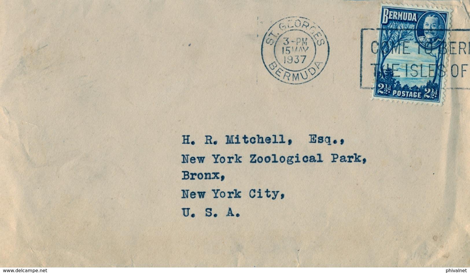 1937 , BERMUDA , SOBRE CIRCULADO , ST. GEORGES - NUEVA YORK - Bermudas