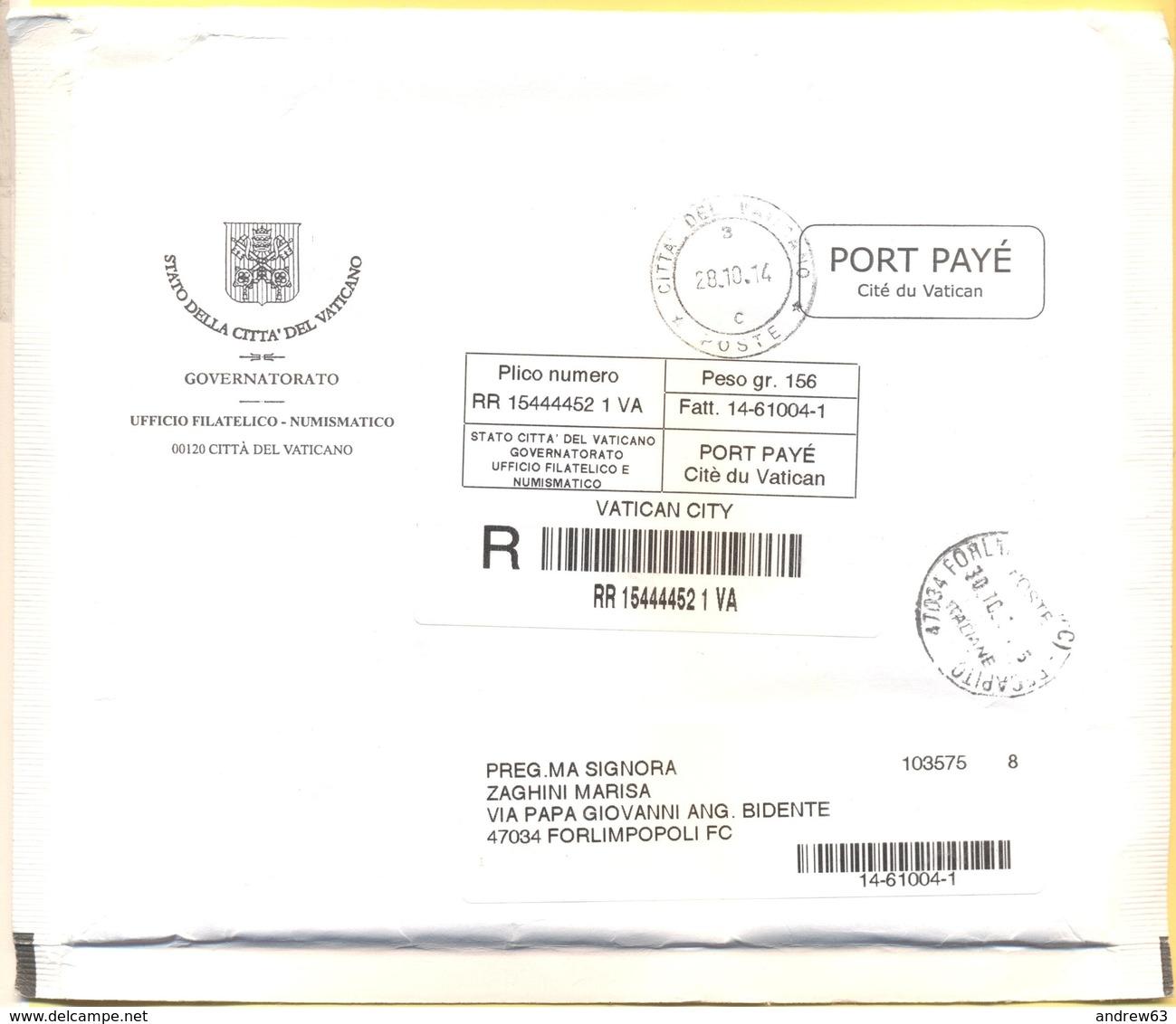 CITTA' DEL VATICANO - VATICAN CITY - 2014 - Busta Raccomandata Con Porto Pagato, Port Payé - Governatorato - Viaggiata P - Vaticano