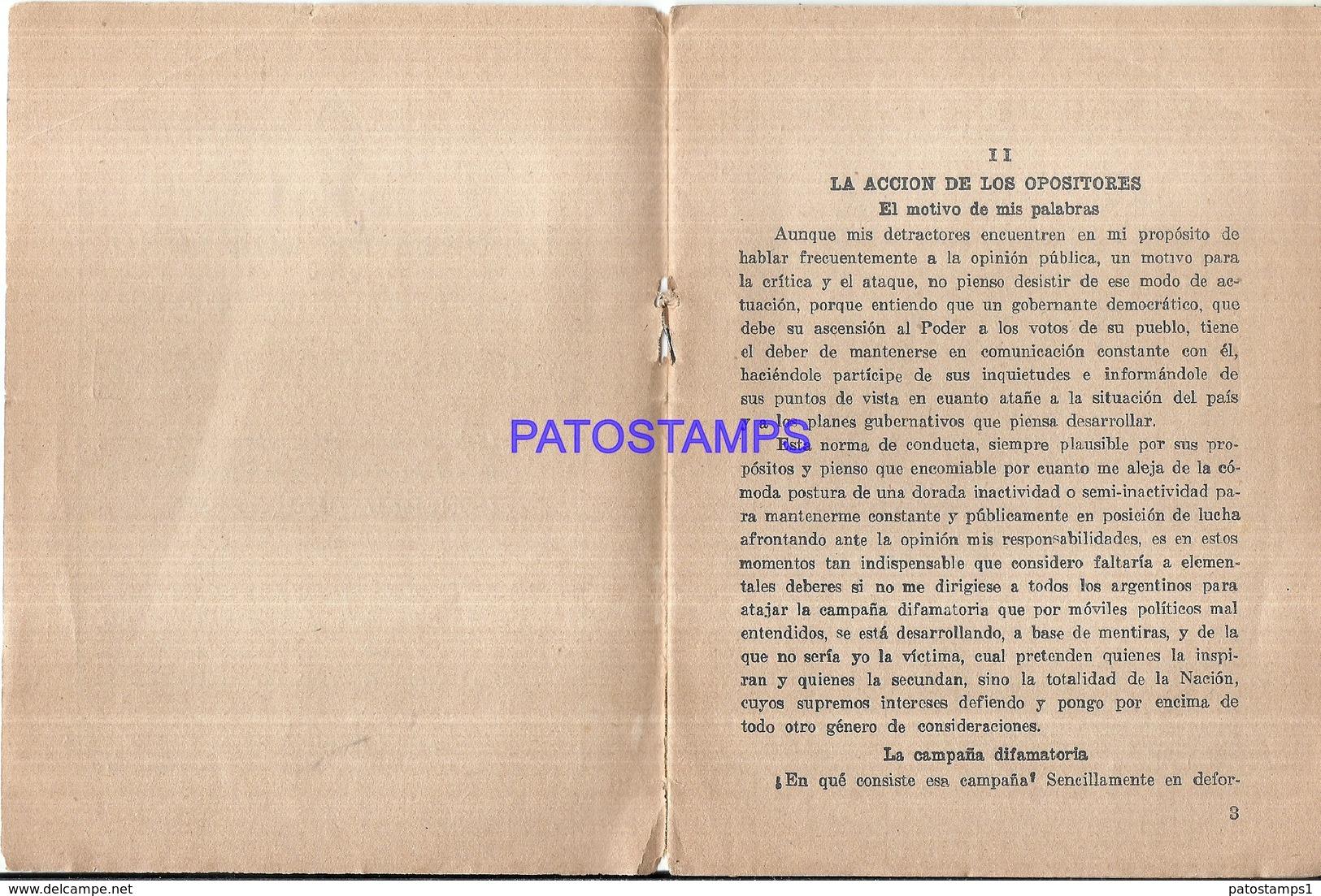 117185 ARGENTINA PERONISMO GRAL PERON LA OBRA DE GOBIERNO CICLO DE CONFERENCIA II LIBRILLO NO POSTAL POSTCARD - Altre Collezioni