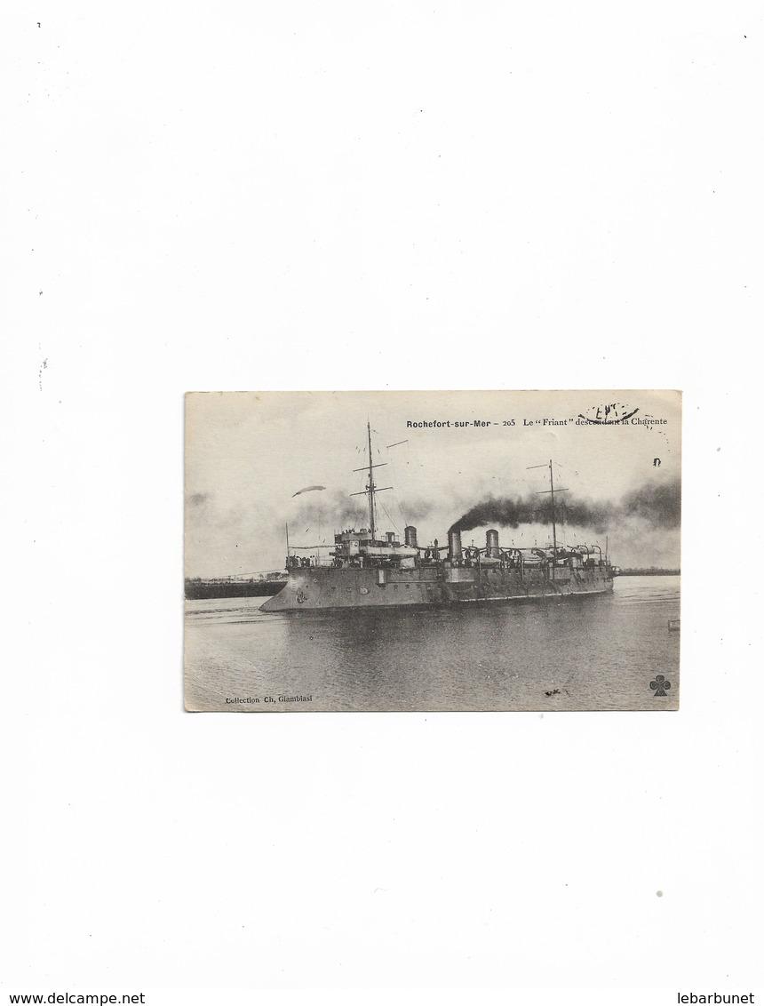 Carte Postale Ancienne Rochefort-sur-Mer (17) Bateau Le Friant  Descendant La Charente - Rochefort
