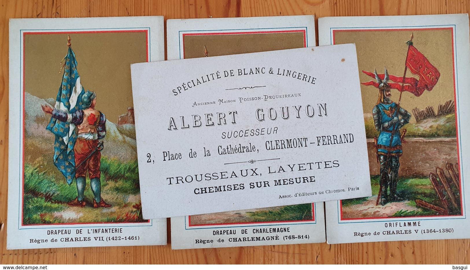 """Serie De 4 Cartes Chromos Pub """"Blanc Et Lingerie, Albert Gouyon""""  A Clermont Ferrand, - Kaufmanns- Und Zigarettenbilder"""