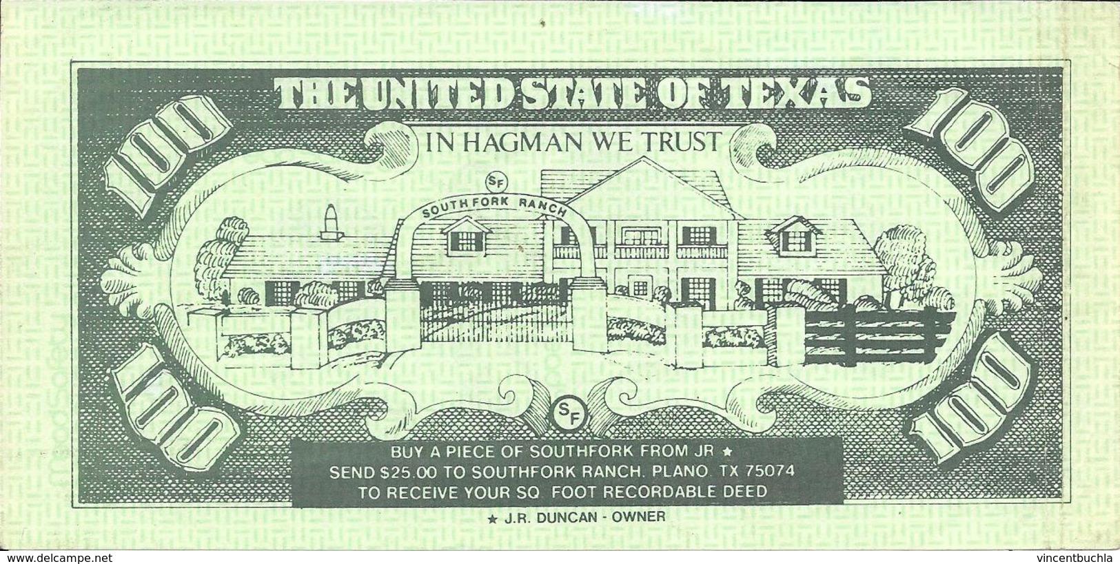 Fac Similé Billet 100 Dollar One Hundred Note Lary Hagman Southfork Ranch Dallas JR - Specimen