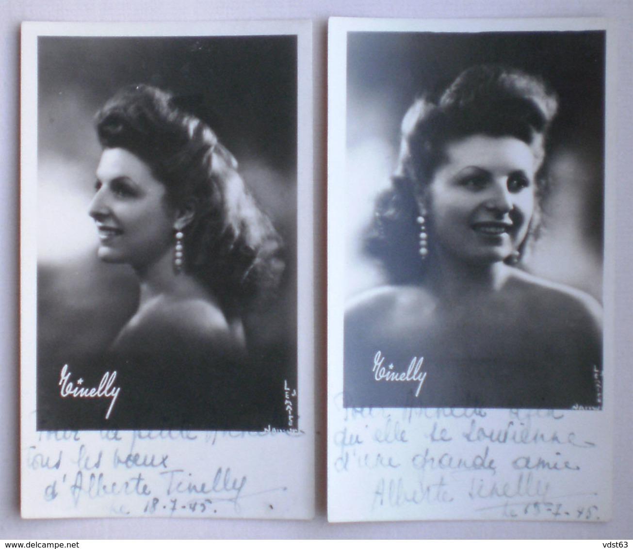 3 X ALBERTE TINELLI Chanteuse Lyrique 1945 1950 Opéra Opérette AUTOGRAPHE Photos Dédicacées - Photographie Liège - Beroemde Personen