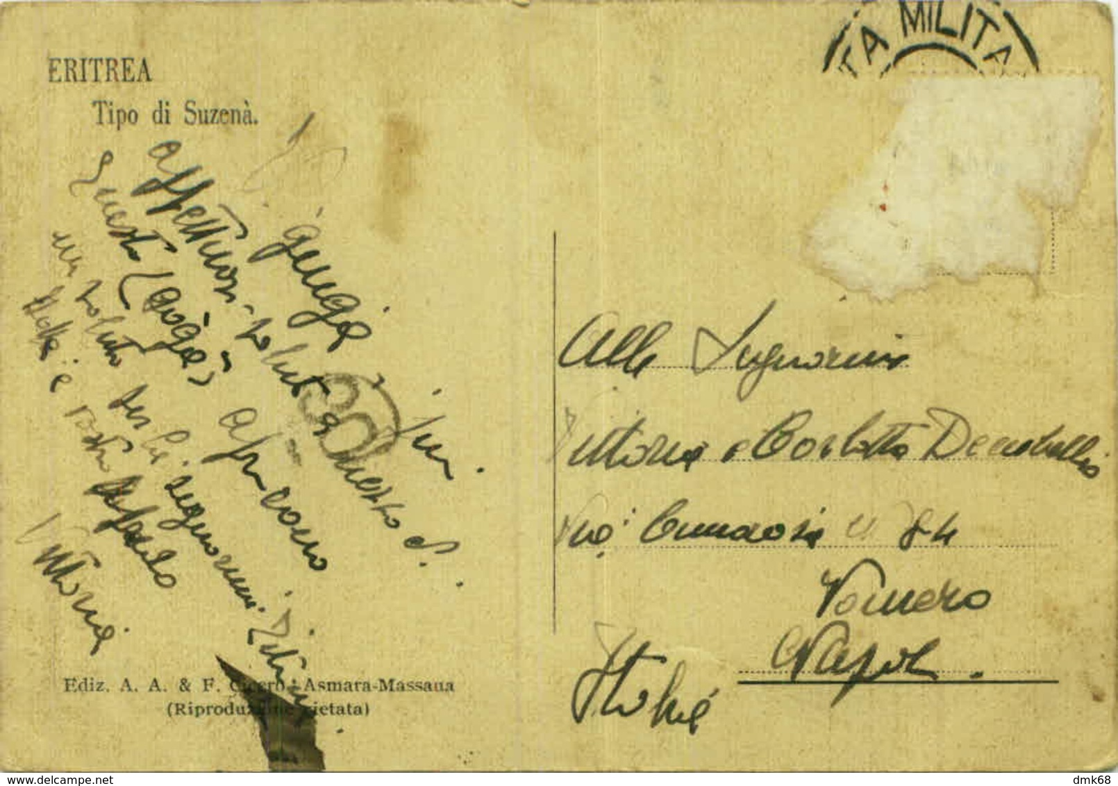 AFRICA - ERITREA - TYPE OF SUZEMA -  BARE-CHESTED MAN - EDIT- A.A. & F. CICERO - 1920s (BG3898) - Eritrea