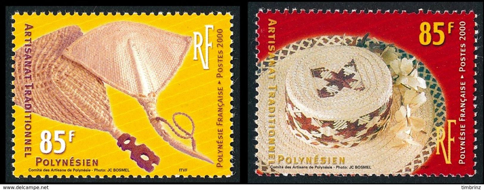 POLYNESIE 2000 - Yv. 627 Et 628 **   Faciale= 1,43 EUR - Artisanat Traditionnel : Chapeau Et Eventails  ..Réf.POL24151 - Französisch-Polynesien