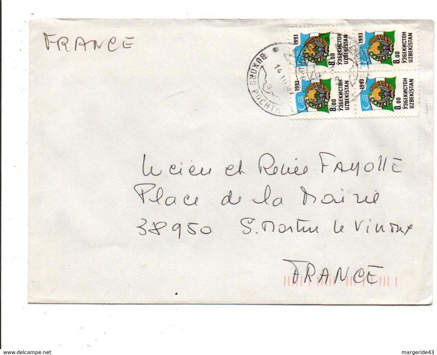 UZBEKISTAN AFFRANCHISSEMENT COMPOSE SUR LETTRE POUR LA FRANCE 1994 - Autres - Europe