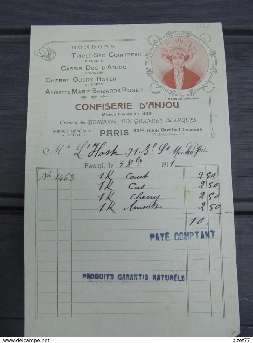 PARIS 5eme, 1911 - CONFISERIE D'ANJOU : 63 BIS RUE DU CARDINAL LEMOINE - DECO - FACTURETTE - France