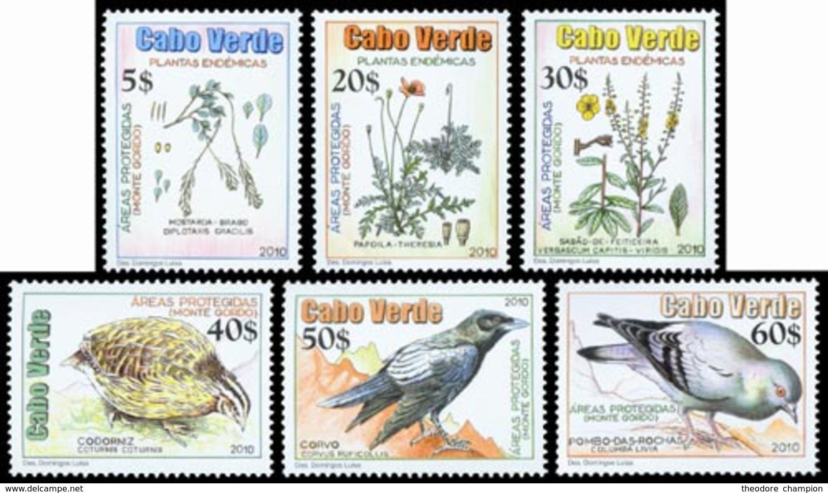 CAP VERT Monte Gordo-Plante & Oiseaux 6v 2010 Neuf ** MNH - Kap Verde