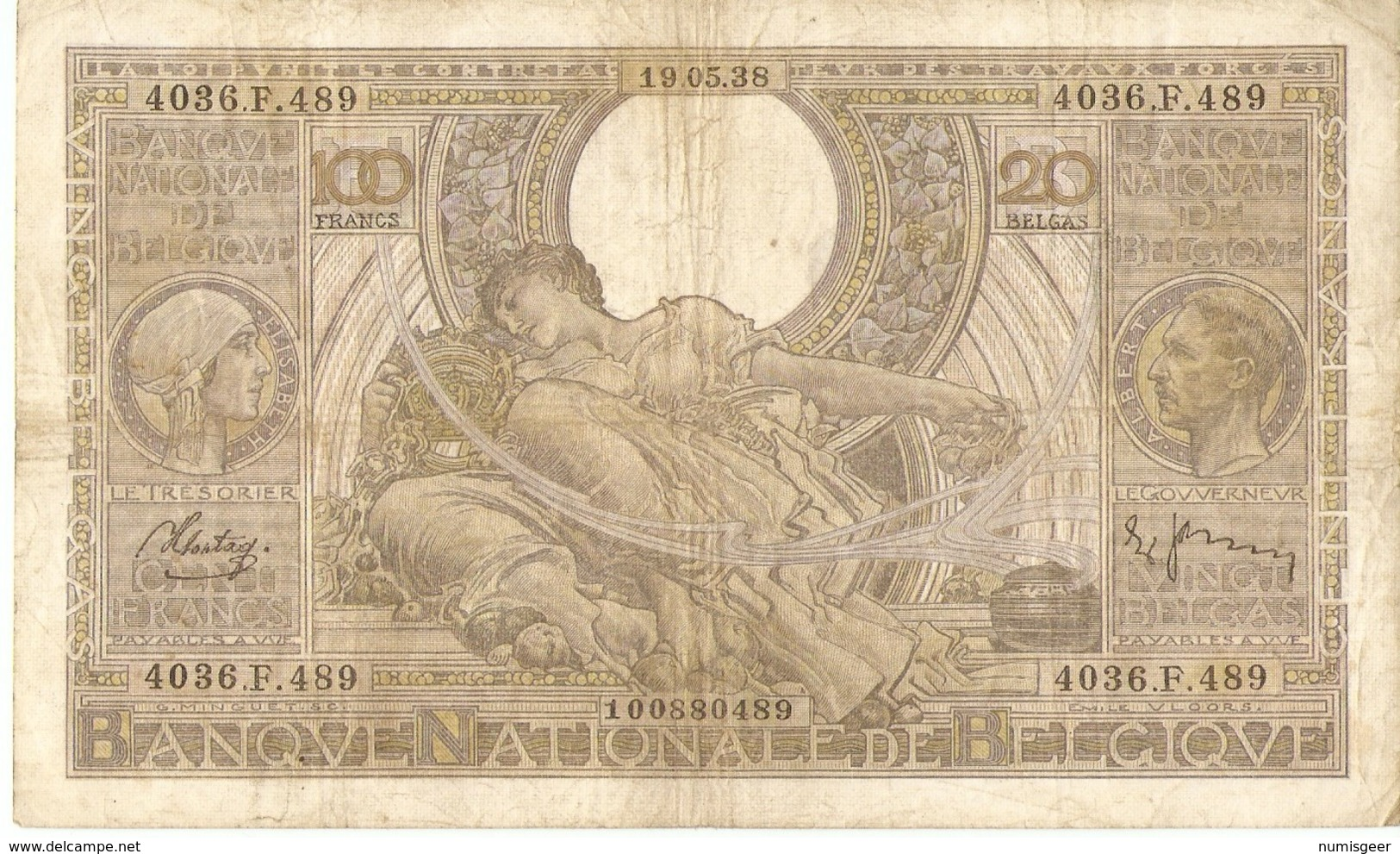 BELGIQUE -- 100 F. ( 20 Belgas ) N° -  4036.F.489 - [ 2] 1831-... : Regno Del Belgio
