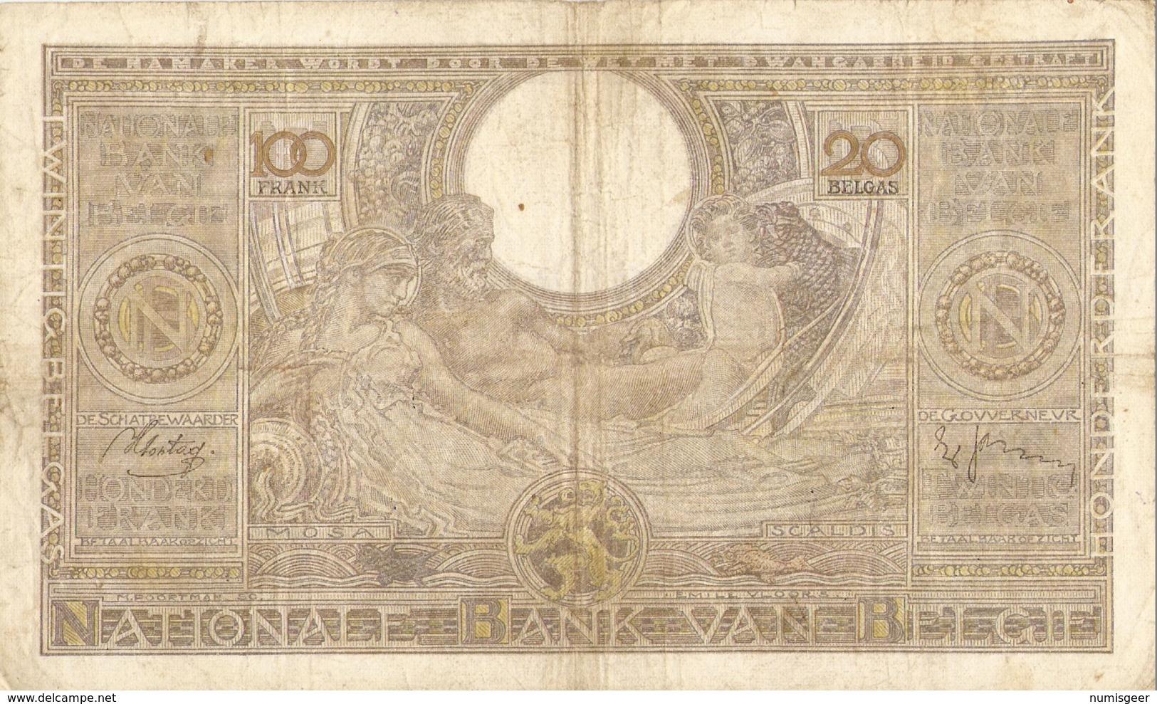BELGIQUE -- 100 F. ( 20 Belgas ) N° -  4036.F.489 - 100 Franchi & 100 Franchi-20 Belgas