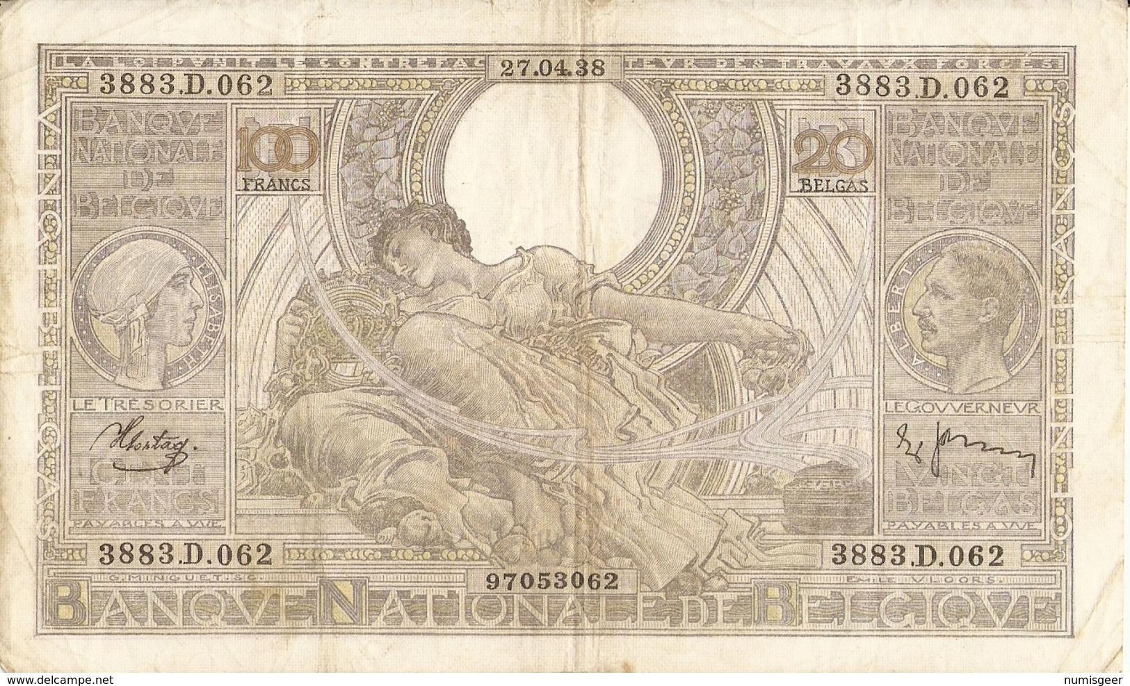 BELGIQUE -- 100 F. ( 20 Belgas ) N° -  3883.D.062 - 100 Franchi & 100 Franchi-20 Belgas