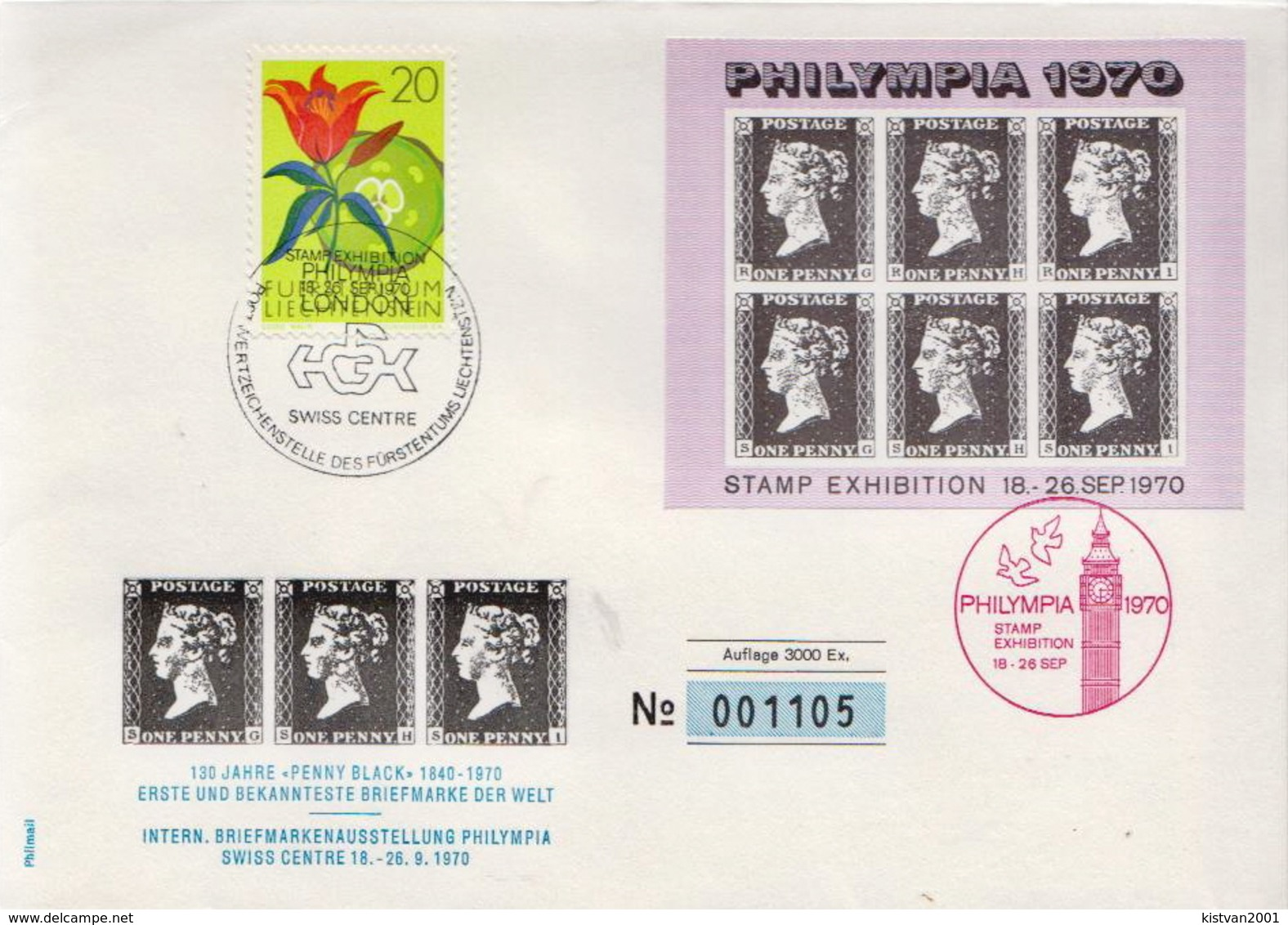 Liechtenstein Special Cover  From Philympia 1970 - Covers & Documents