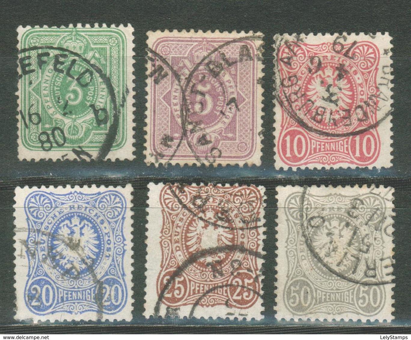 """Duitse Rijk / Deutsches Reich DR 31 - 36 Used O (1875) """"Pfennige"""" - Gebraucht"""