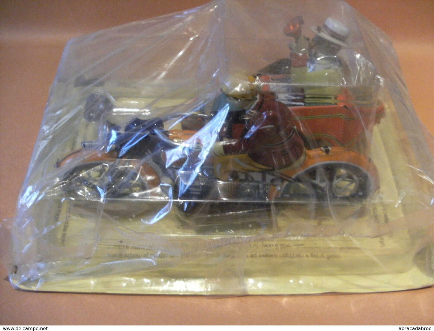 Moto Side Car Sous Blister - Fer Blanc - Giocattoli Antichi