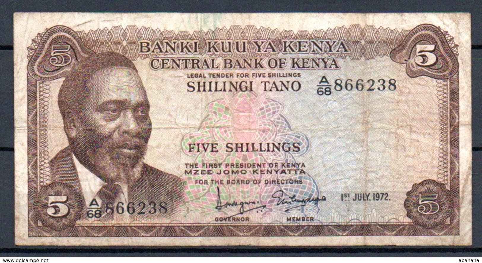 329-Kenya Billet De 5 Shillings 1972 A68 - Kenia