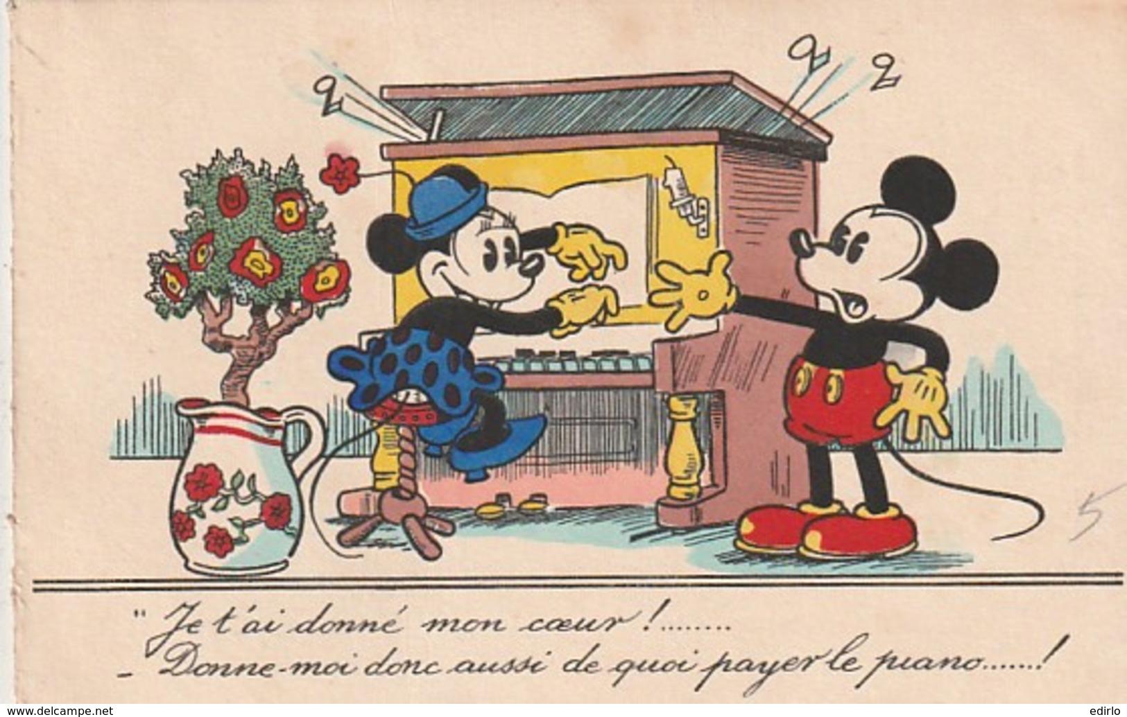 ***  Illustrateur  ***  Mickey Minie Je T'ai Donné Mon Coeur Walt Dysney Harmonium Piano -  écrite 1937 Excellent état - Autres Illustrateurs