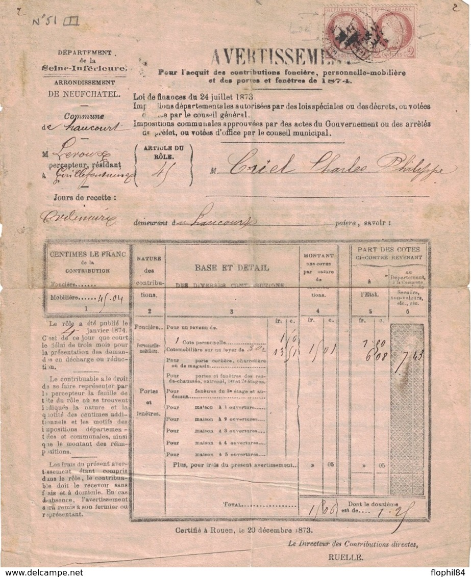SEINE INFERIEURE - HAUCOURT - ARRONDISSEMENT DE NEUFCHATEL - N°51 EN PAIRE SUR AVERTISSEMENT DES CONTRIBUTIONS FONCIERES - 1849-1876: Classic Period