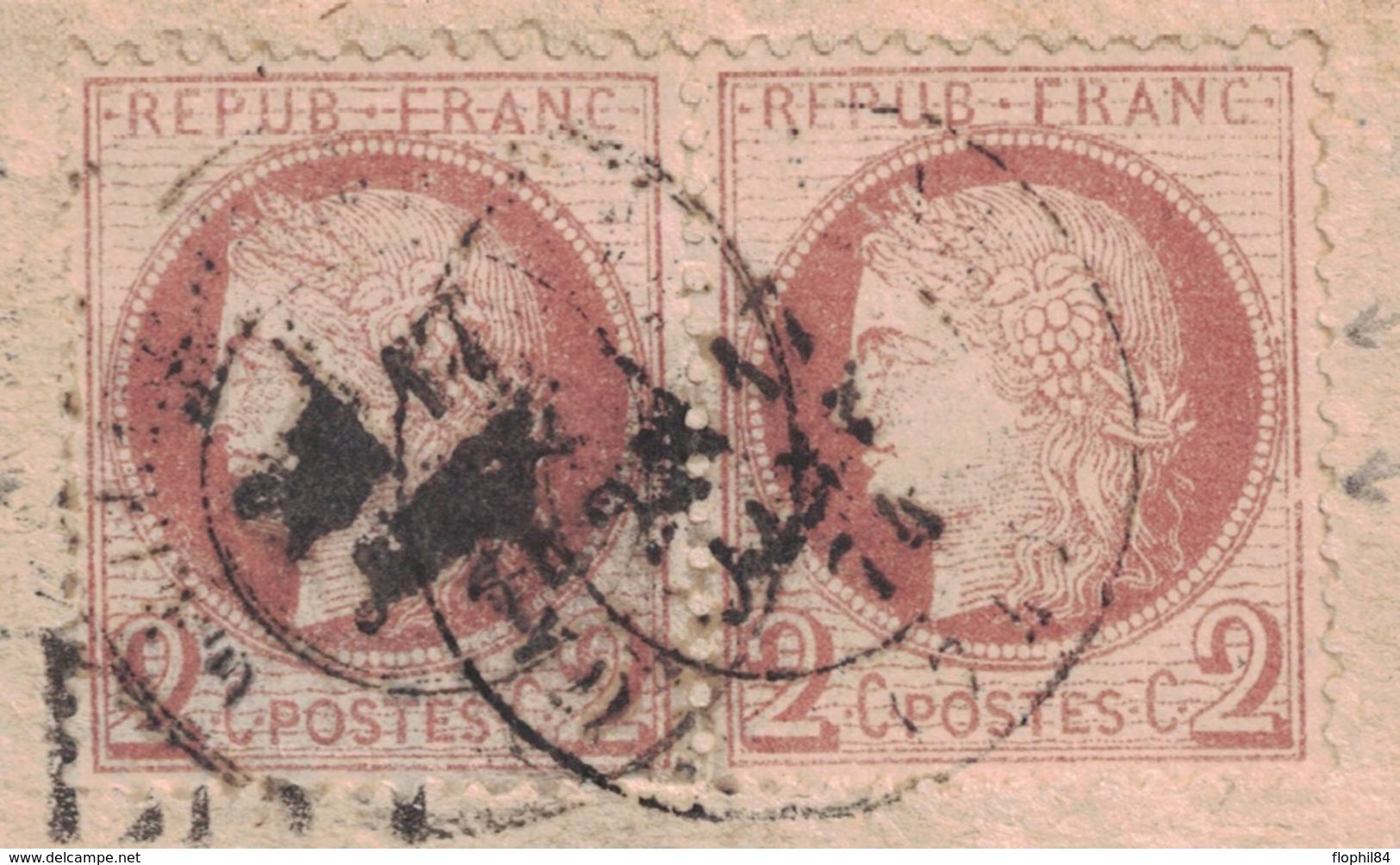 SEINE INFERIEURE - HAUCOURT - ARRONDISSEMENT DE NEUFCHATEL - N°51 EN PAIRE SUR AVERTISSEMENT DES CONTRIBUTIONS FONCIERES - Postmark Collection (Covers)