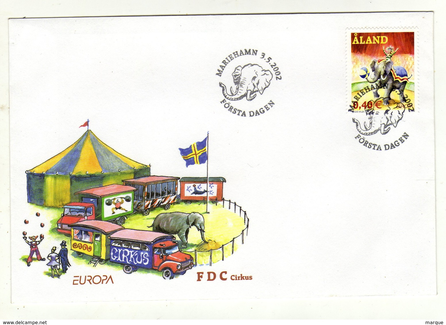 Enveloppe 1er Jour ALAND EUROPA Oblitération MARIEHAMN 03/05/2002 - Aland