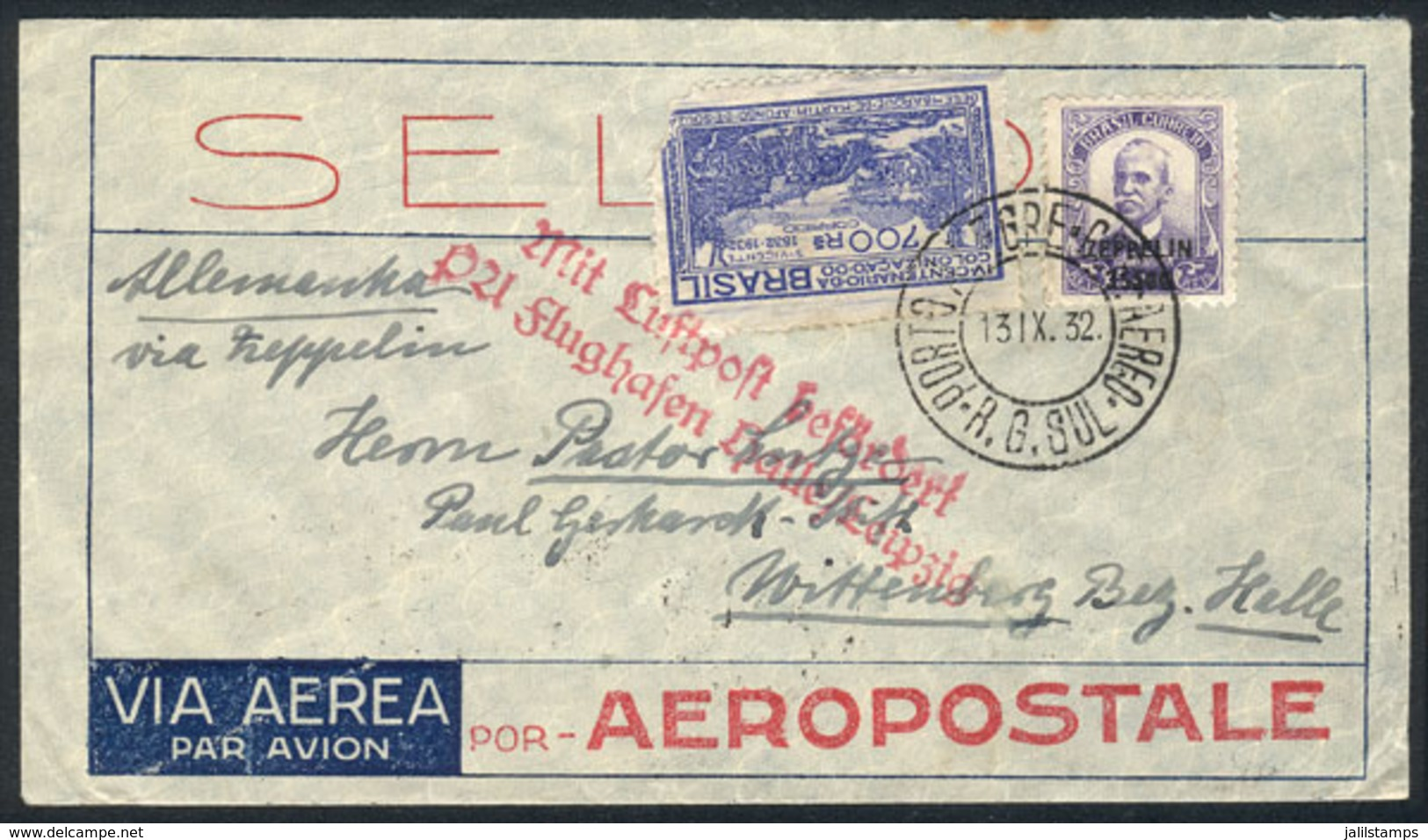 BRAZIL: Cover Sent From Porto Alegre To Germany On 13/SE/1932, With Special Handstamp Of The Flight And Friedrichshafen  - Brésil