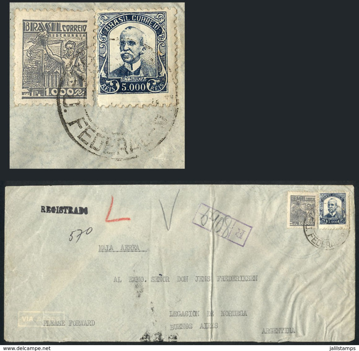 BRAZIL: Registered Airmail Cover Sent From Rio To Argentina In FE/1942 Franked With 6,000Rs., Very Nice! - Brazil
