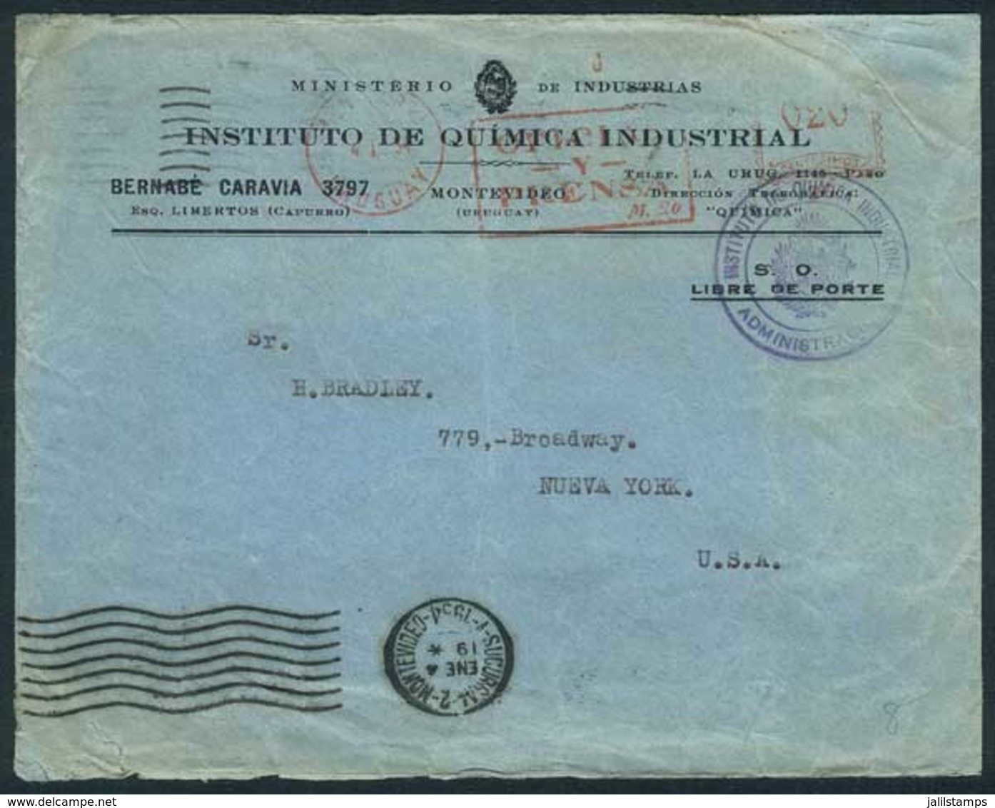 """URUGUAY: Cover Of The Industrial Chemistry Institute Sent To USA On 4/JA/1934, Meter Postage Of 20c. With Inscription """"O - Uruguay"""