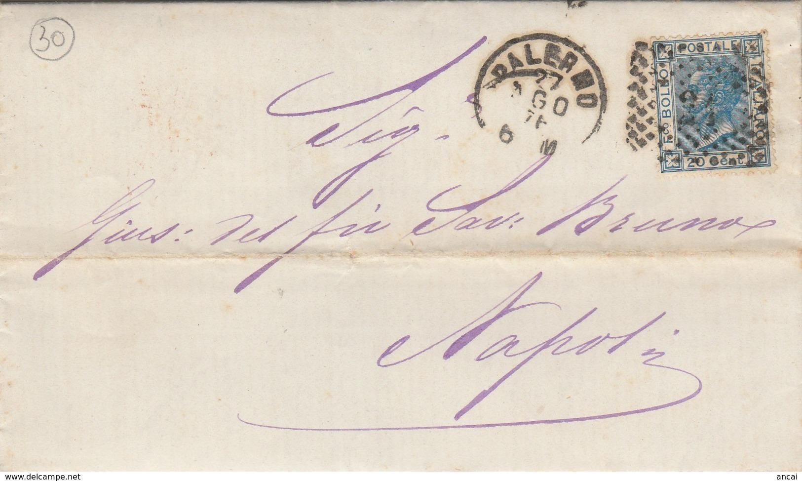 Palermo. 1876. Annullo Numerale Piccolo Cerchio A Punti, Su Lettera Completa Di Testo - 1878-00 Umberto I